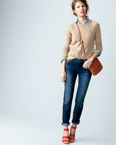 J.Crew Collection basketweave baseball cashmere sweater worn with the keeper chambray shirt and the smart stretch matchstick jean in dark Luella wash. And . . . why I need red shoes.