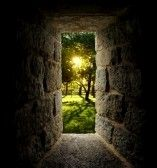 Doorway : Sunrise through trees as viewed out of a castle-like stone window or passage. Vertical.