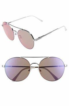 f17831fea2ea3 Circus by Sam Edelman 55mm Round Aviator Sunglasses Latest Sunglasses
