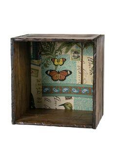 Cajón de Madera de Inspiración Vintage Tapizado Botánica de ReallyNiceThings