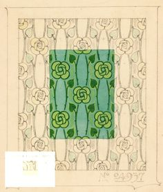 This Design Is Possibly By Harry Napper For The Silver Studio In Around Art Nouveau Features Stylised Roses And Stems Forming A Vertical Stripe