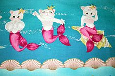 Mermaid Pixie Kitty Cats on SeaFoam Green Under Sea Scallop Clam Fabric Micheal Miller Breast Cancer Awareness Pink Mint Turquoise on Etsy, $7.95