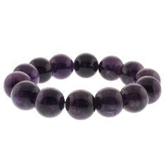 "7.5"" Round 14mm Purple Amethyst Beaded Stretchy Bracelet - http://www.spiritualgemstonejewelry.com/7-5-round-14mm-purple-amethyst-beaded-stretchy-bracelet/"