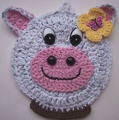 Crocheted Cow Potholder Decoration.