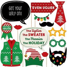 Ugly Sweater - Christmas Party Photo Booth Props Kit - 20 Count 20 printed and cut photo booth props. Expires Nov 29 2017