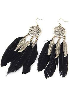 Wing Earrings, Feather Earrings, Tassel Earrings, Women's Earrings, Fashion Earrings, Fashion Jewelry, Women Jewelry, Fashion Fashion, Black Feathers