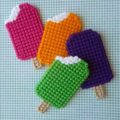 Your place to buy and sell all things handmade Plastic Canvas: Ice Cream Popsicle Magnets (set of by ReadySetSewbyEvie on Etsy Plastic Canvas Stitches, Plastic Canvas Coasters, Plastic Canvas Ornaments, Plastic Canvas Christmas, Plastic Canvas Crafts, Plastic Canvas Patterns, Crochet Projects, Sewing Projects, Craft Projects
