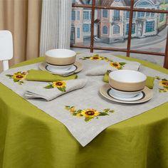 Tablecloth Topper Sunflowers, 100% Linen