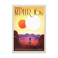 #NASA Future Travel Poster - Relax on Kepler 16b Canvas Print - #travel #trip #journey #tour #voyage #vacationtrip #vaction #traveling #travelling #gifts #giftideas #idea