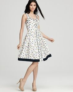White Contemporary Printed Dress by Milly