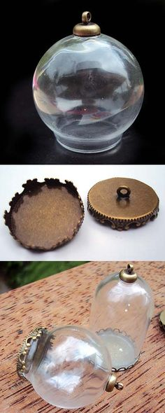 Glass Dome w/Loop Round 30x20mm - Includes Brass Cover