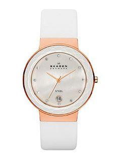 Skagen White & Rose Gold Ladies Watch