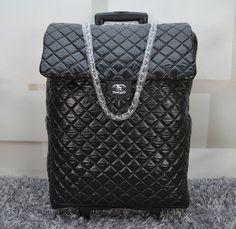 44d3e14cd14 Chanel Classic Quilted Nylon Trolley A57438 Black Cheap Handbags