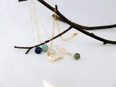 Minimalist gemstone Pendant necklace,Gemstone bead pendant,Rose gold necklace,Gold necklace,Silver necklace,minimalist gemstone jewelry by IgnisDesignStudio on Etsy