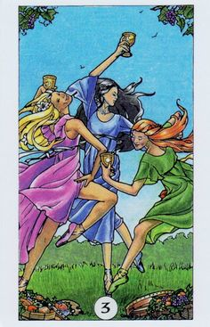 Card of the Day: Three of Cups from Robin Wood Tarot ~ Celebrate life in every moment.  You do not have to be at your destination to celebrate the journey.  Every step along out path can bring cause for joy and happiness.  Rejoice in what you gain from the good as well as the bad.