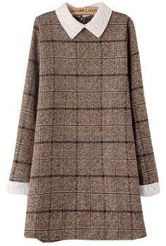 Brown Contrast Lace Collar Plaid Dress - abaday.com