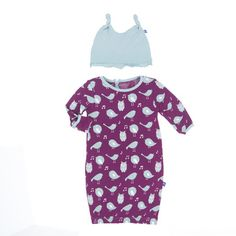 KicKee Pants Girls Layette Gown & Knot Hat Set, Melody Singing Birds
