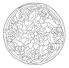 Mandalas Para Pintar: Mandala redondo floral Nouveau