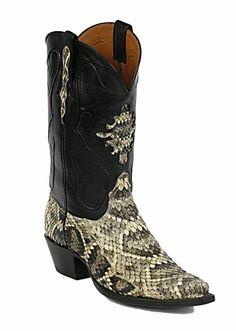 Black Jack Rattlesnake Cowboy Boots - Mens Exotic Western Boots