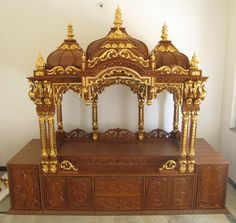 Temple Design For Home, Home Temple, Classic House Design, House Front Design, Ganpati Decoration Design, Altar Design, Mandir Design, Wooden Main Door Design, Pooja Room Door Design