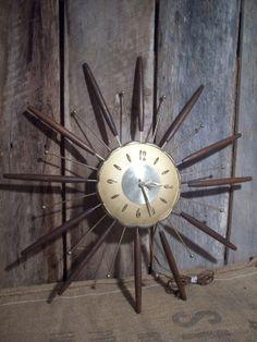 Vintage Mid Century Clock Starburst Design by BarnDoorBootique, $110.00