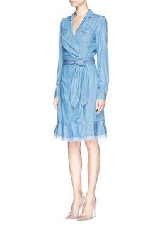 DIANE VON FURSTENBERG - 'Aya' lace trim hem denim dress | Blue Casual Dresses | Womenswear | Lane Crawford - Shop Designer Brands Online