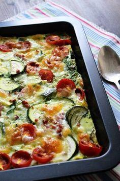 Rezept für Frittata Low Carb / Quiche ohne Boden / Anm.:  Mehr Spinat! Keine Zwiebel! = seeehr lecker!