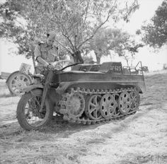 Captured German Kettenkrad tracked motorcycle, Sicily, 23 July 1943.