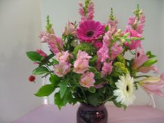 Gerbera Daisies, Pink Snaps,and Lilies