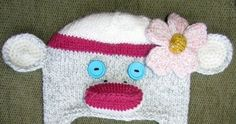 Today I thought I would share with you how I made the knitted flower for this Monkey Hat. Knitted Flower Pattern: Tools: you can. Small Knitting Projects, Knitting Ideas, Free Knitting, Free Knitted Flower Patterns, Lace Knitting Patterns, Knit Flowers, Crochet Flats, Monkey Hat, Knit Art