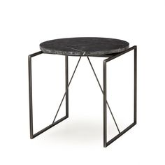 Side Table - White Marble/Metal/leather
