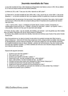 Journée mondiale de leau Gcse French, Ap French, Learn French, French Flashcards, French Worksheets, French Language Lessons, French Lessons, French Teaching Resources, Teaching French