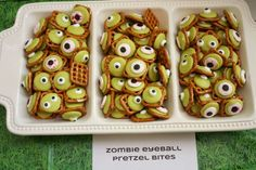 Check out these fun zombie eyeball pretzel bites at this awesome Plants vs. Zombies birthday party! See more party ideas and share yours at CatchMyParty.com