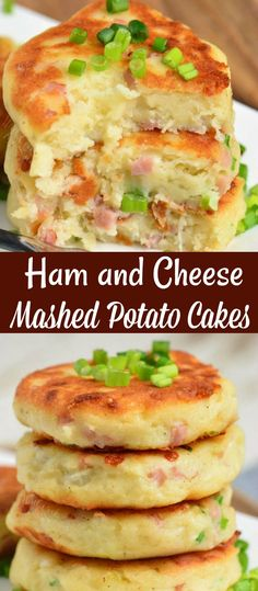 Ham And Cheese Mashed Potato Cakes Ham and Cheese Mashed Potato Cakes. Ham, cheese, and chives is a great flavor addition for these potato cakes and it's easily made within 30 minutes. Mashed Potato Cakes, Cheese Mashed Potatoes, Cheesy Potatoes, Recipe For Potato Cakes, Baked Potatoes, Potato Dishes, Veggie Dishes, Food Dishes, Side Dishes