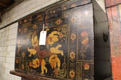 "36"" wide Chinese old trunk painted box black flowers beautiful ELWB4021 