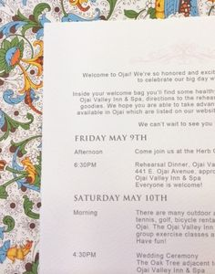 Calligraphy for Jewish Wedding Traditions Wedding Card & Wedding Itinerary printed with Hyegraph's Digital Calligraphy on Fine Italian Rossi Papers. Italian Wedding Invitations, Ojai Valley Inn And Spa, Jewish Wedding Traditions, Ojai California, Welcome Bags, Wedding Stationery, Big Day, Wedding Cards, Calligraphy