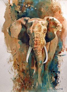by Jennifer Kraska, January Watercolor and pen Wildlife Paintings, Wildlife Art, Animal Paintings, Animal Drawings, Elephant Paintings, Indian Paintings, Elephant Artwork, Elephant Elephant, African Animals