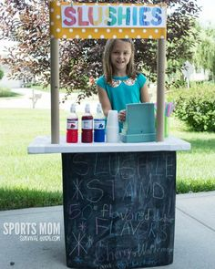 Your kids will love creating this DIY Slushy Stand or follow the same directions to make a lemonade stand! The secret behind the stand is the cooler on wheels, make this was to transport. #kids #diy #summer
