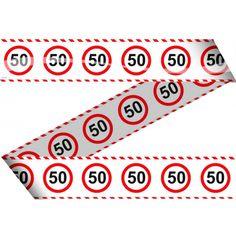 Markeerlint 50 jaar met stopbord. Leuk versier- of markeerlint, bestaande uit een aaneenschakeling van stopborden met daarin het getal 50. Het 50 jaar markeerlint is ongeveer 15 meter lang en 10 cm hoog.