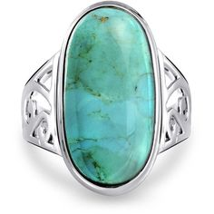 Bling Jewelry Turquoise Tango Ring ($47) ❤ liked on Polyvore featuring jewelry, rings, blue, statement rings, oval rings, blue turquoise ring, cocktail rings and blue jewelry