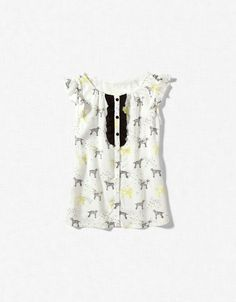 dogs printed blouse-zara