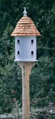 """Natural Cedar Post and Brackets - 4"""" dia. peeled cedar post, 104"""" overall length and 4 cedar brackets. Pictured with Large Shingled House."""