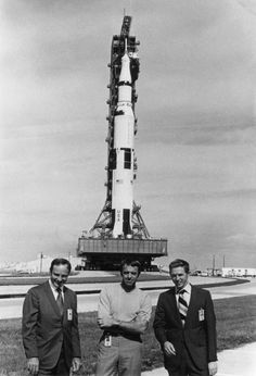 ( or ) Ed Mitchell (left), Al Shepard, and Stu Roosa pose in front of their Saturn V during rollout. 9 November Scan by Ed Hengeveld. Apollo Space Program, Nasa Space Program, Apollo Missions, Moon Missions, Kennedy Space Center, Astronauts In Space, Air Space, Space Race, Space And Astronomy