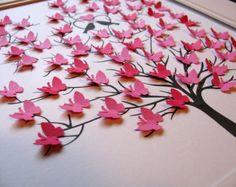 8 x 10. 3D Mini papillon arbre. Mariage. Anniversaire. Journée spéciale. Personnalisé avec le nom en bas. VOTRE choix de couleurs. Fabriqué sur commande