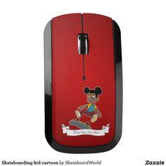 Skateboarding kid cartoon wireless mouse