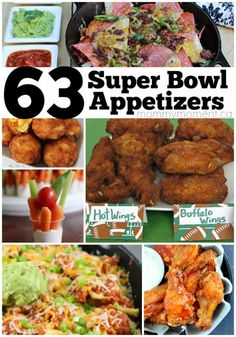63 winning Super Bowl appetizers that are sure to impress everyone at your super bowl party. Appetizers For Party, Appetizer Recipes, Party Dips, Party Snacks, Parties Food, Party Games, Quick Recipes, Side Dish Recipes, Side Dishes For Chicken