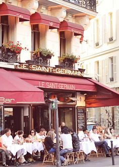 Le Saint Germain - Paris France Cafe of course. I don't think anyone is in a hurry for anything over here! They will literally sit for hours over a coffee or meal.
