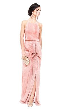 Hire this gorgeous Badgley Mischka maxi dress in this stunning blush colour for your bridesmaids or black tie event this season. This gorgeous draped and pleated sequinned evening gown by Badgley Mischka will ensure all eyes will be on you. Whether you're looking to hire bridesmaid dresses or hire floor length dresses with all over sequins this will be the dress for you. With rows of elegant sequins, racer neckline complemented by a blouson bodice and draping from the natural waist, this is…