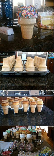 Cupcake Cones. :) This is a fun idea. Maybe not sprinkles...just frosting....