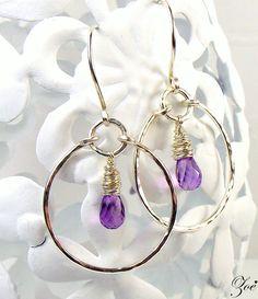 Sterling silver AA+ faceted Amethyst hoop earrings with Handformed textured hoops & hooks